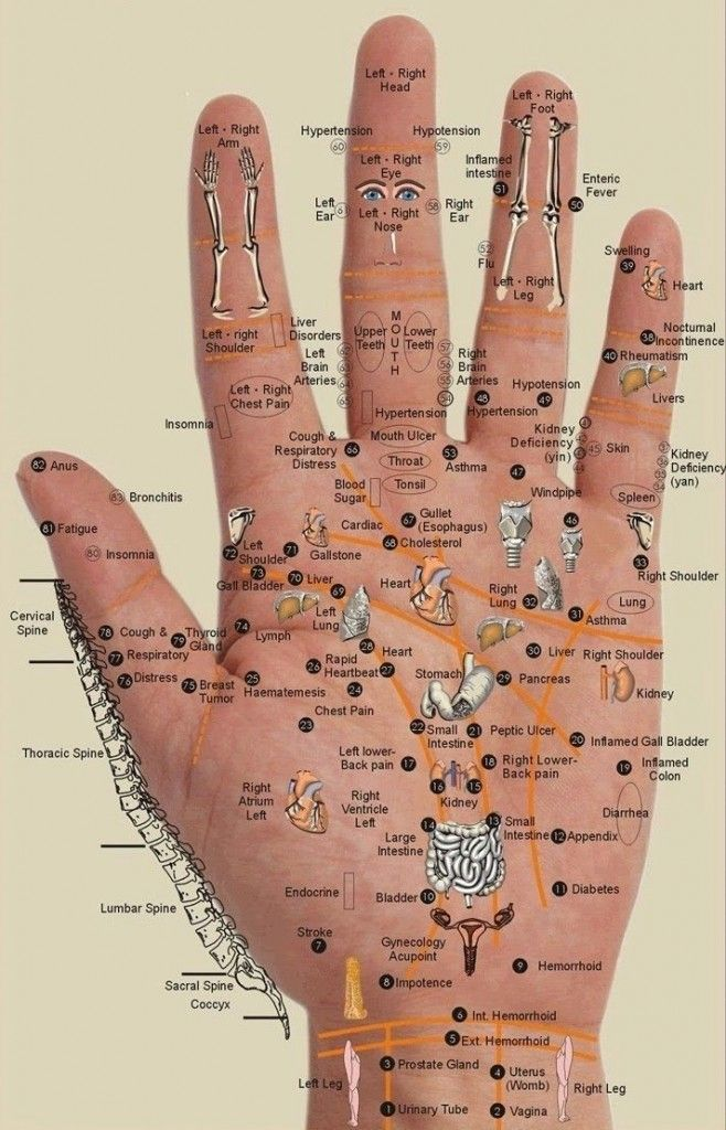 Instruction Press the point on your hand which indicates the place it hurts you. Hold it for 5 Release your thumb for 3 seconds. Press it again, and repeat this for several minutes. Do prolonged massages at least once a day – after a week you'll feel much better.