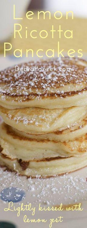 Light, airy, lemon-ricotta pancakes. The perfect Easter breakfast recipe!