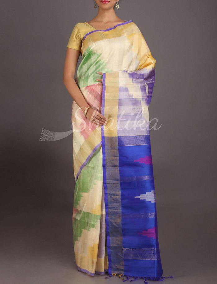 Sanvi Splash Of Colors On White Pure #IkatSilkSaree