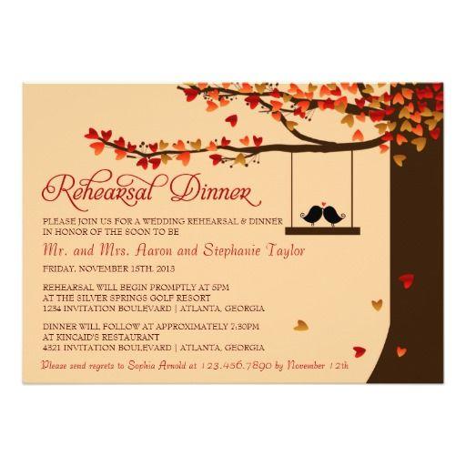 Love Birds Falling Hearts Rehearsal Dinner 5x7 Paper Invitation Card