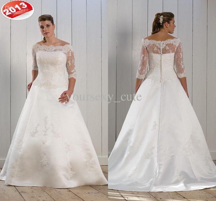 Wholesale 2013 New Style Bateau Three Quater Sleeve A Line Button Applique Plus  Size Wedding