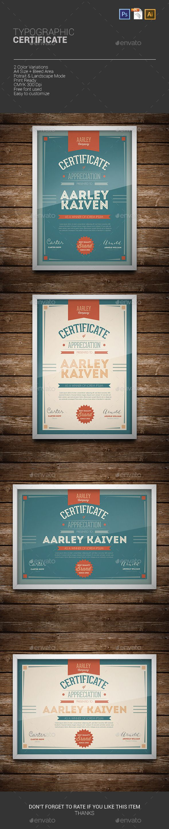 89 best certificate of merit images on pinterest certificate typographic certificate template psd vector eps ai download here http yadclub Choice Image
