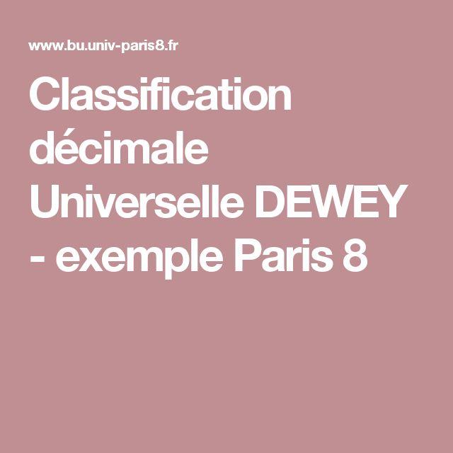 Classification décimale Universelle DEWEY - exemple Paris 8