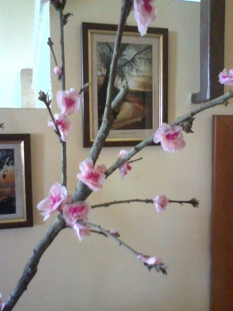 Ramo con fiori di pesco fatti con carta crespa..La primavera in casa...