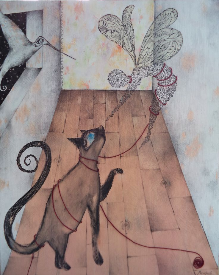Kelly Mentzou, Cat, Love, Death, 2010, oil, tempera, charcoal, woolen string, glue stick, rice paper, pastel on canvas,100 x 80 cm (http://www.dlfineartsgallery.com/exhibit/%CE%BA%CE%B5%CE%BB%CE%BB%CF%85-%CE%BC%CE%B5%CE%BD%CF%84%CE%B6%CE%BF%CF%85/QQKyYTcAO_qpIg)