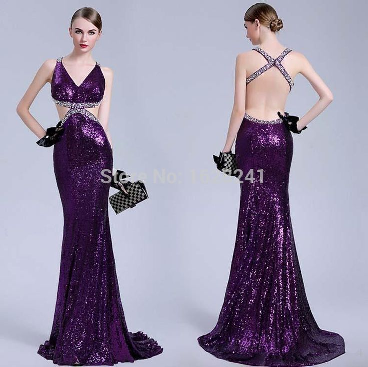 Find More Evening Dresses Information about 2015 Spring Luxury Sexy Purple Evening Dresses Sequins V Neck Backless Mermaid Crystal Beads Celebrity Pageant Party Prom Gowns,High Quality beaded votives,China gown dress Suppliers, Cheap beaded bodice wedding gown from True Love Bridal dress Co., Ltd.  on Aliexpress.com