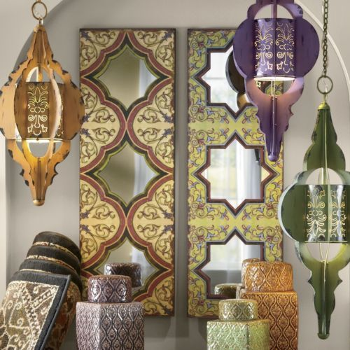 set of 2 moroccan tile mirrors from seventh avenue