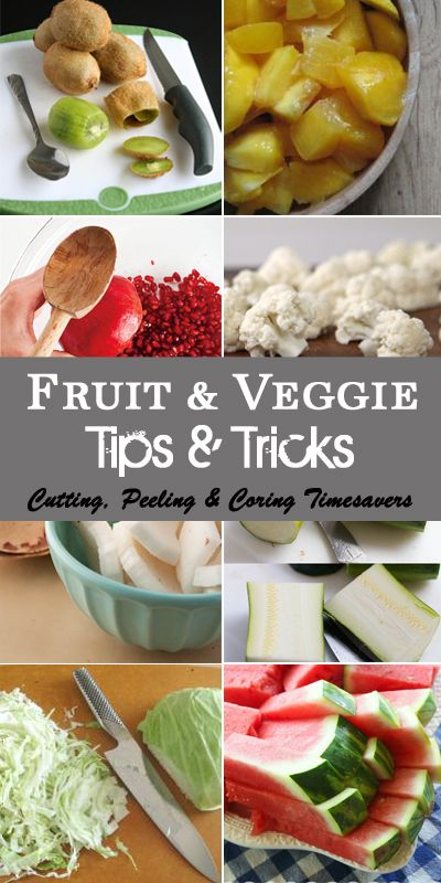 Check out these awesome Fruit & Veggie Tips & Tricks! Tons of amazing ideas on how to save time on cutting, peeling and coring! You will fall over when you see the tip on how to peel an entire bag of potatoes in 1 minute!