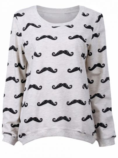 Light Grey Multiple Black Moustache Print Sweatshirt pictures