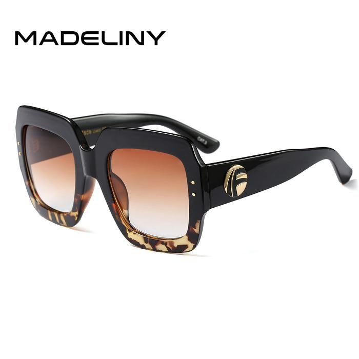 FuzWeb:MADELINY Popular Sunglasses Luxury Women Brand Designer Square Summer Style Big Frame Top Quality UV Protection Sun Glass MA178,C2