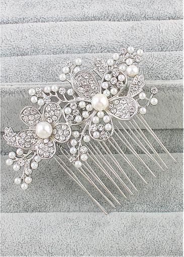 In Stock Glamorous Wedding Hair Ornament With Rhinestones & Pearls
