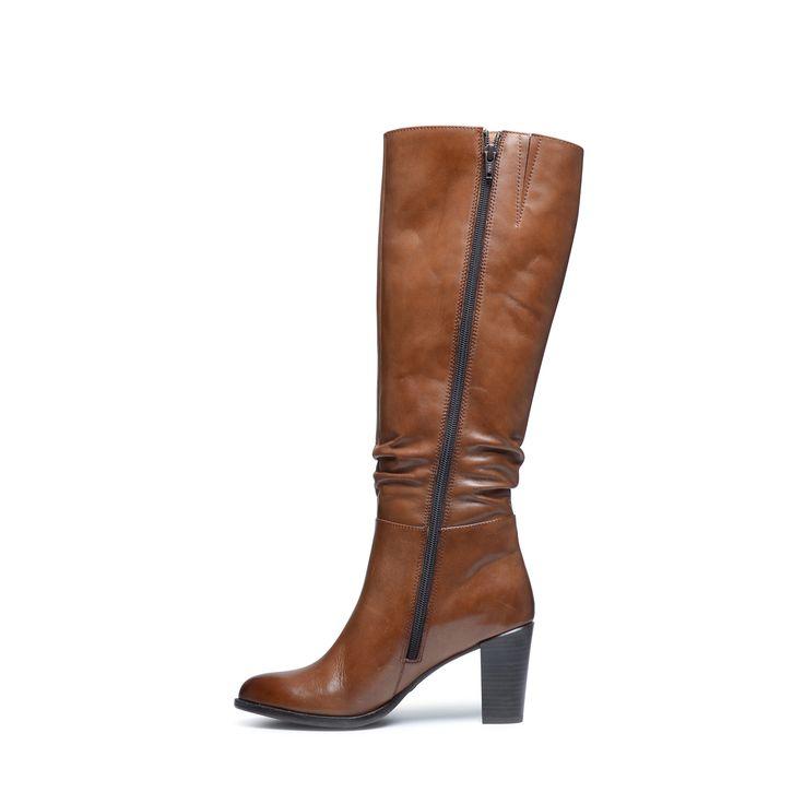 Cognac hoge laarzen met hak   Dames   MANFIELD
