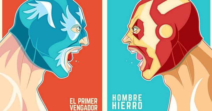 Los artistas de Ninjabot, nos presentan una serie de imágenes donde los personajes de cómics son retratados como en un póster de cartel de Lucha Libre Mexicana