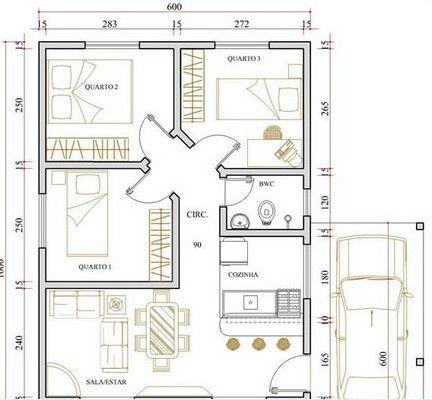 Casa 3 Quartos Plantas De Casa Apartamento Pinterest