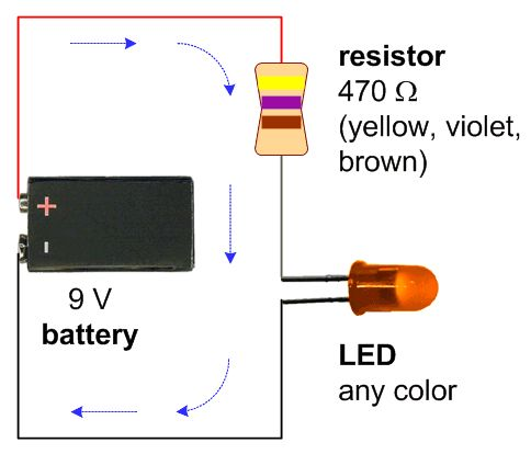 A schematic with a 9V battery, 470 ohm resistor, and a single LED of any color | Maker Ideas