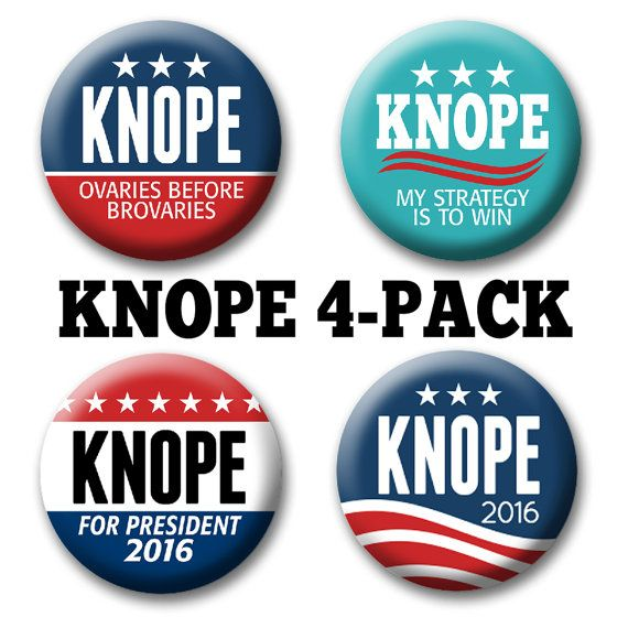 4-Pack Leslie KNOPE 2016 Buttons for your by ButtonDeliDotCom