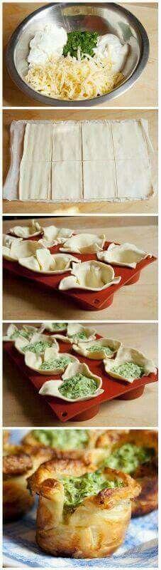 КОРЗИНОЧКИ СО ШПИНАТОМ  Слоёное тесто, шпинат, сметана, сливочный сыр, чеснок, твёрдый сыр, соль, перец, масло  #фоторецепты #кулинария #идеи #выпечка #закуски
