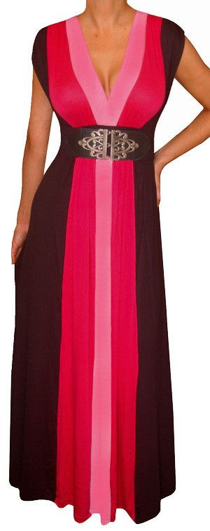 Funfash Plus Size Clothing Black Color Block Long Maxi Women's Plus Size Dress