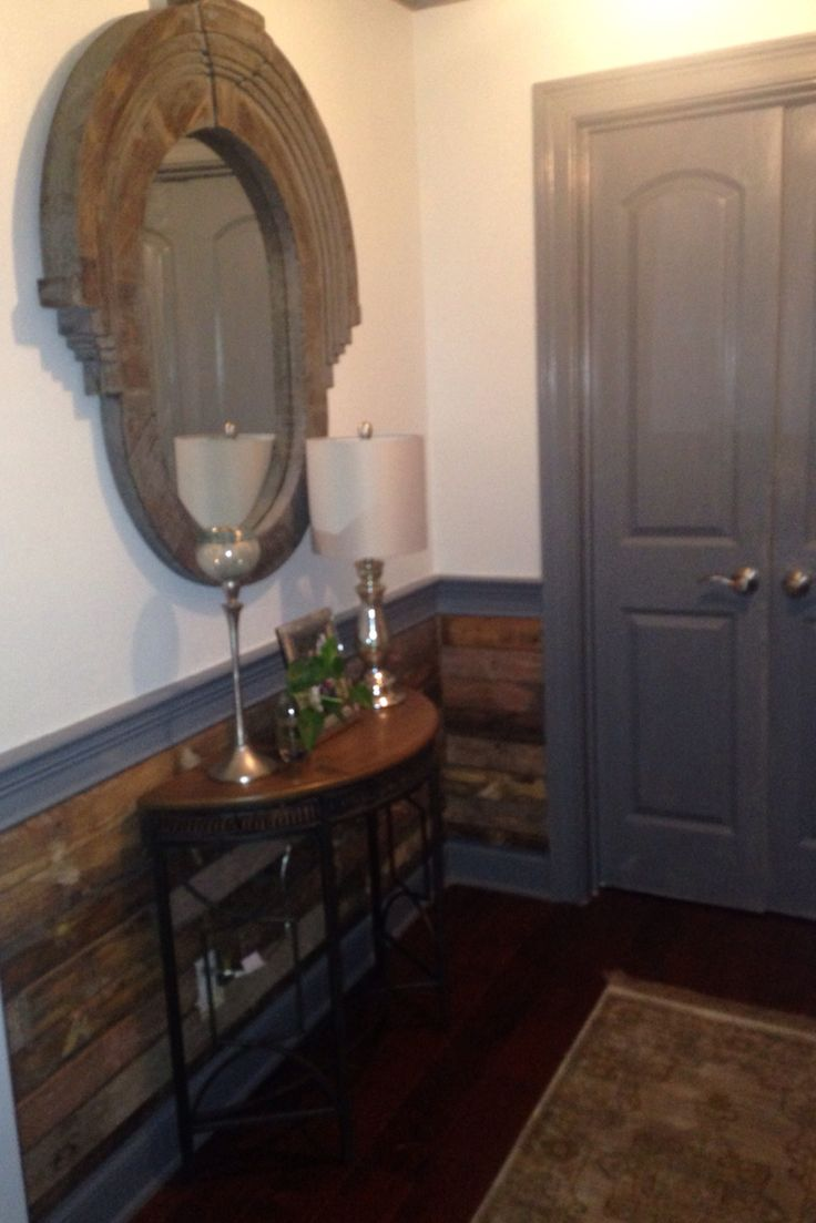 Vintage pallet wainscoting | Rustic chic foyer | J Holland Interiors