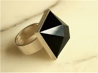 Ring, sterling silver with onyx, Björn Weckström for Lapponia