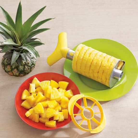 Stainless-Steel Pineapple Slicer & Dicer Leaves the core and empty shell behind. Peels, cores, slices and dices a pineapple with two simple steps. Heavy-duty stainless-steel cutting shaft; smooth plastic handle and dicing ring. Dishwasher safe. $20