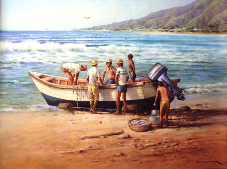 Artista Jorge Guevara, artista nacido en Colombia residenciado en Venezuela y sus obras se exhiben en la Galería Bahía Redonda. estado Anzoátegui, Venezuela.