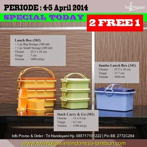 Promo Tulipware 2 Free 1 >> April 2014 : Lunch Box, Stack Carry & Go, Jumbo Lunch Box