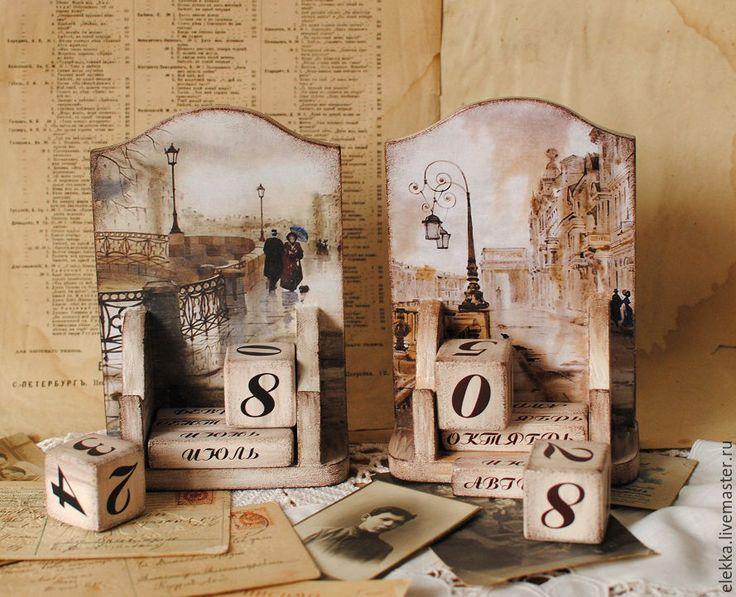 """Купить Вечный календарь """"Прогулки на грани веков""""-1 - вечный календарь, вечный календарь декупаж"""
