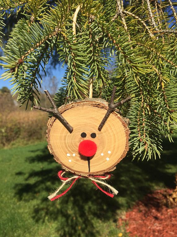 3 Rustic Wooden Reindeer Ornaments Log Slice Rudolph Diy Christmas Decorations Easy Christmas Crafts Reindeer Ornaments