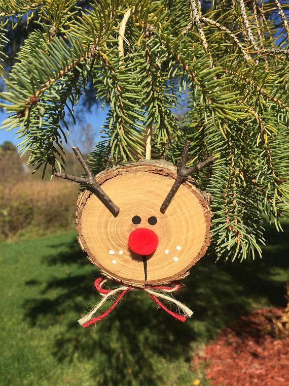 3 Rustic Wooden Reindeer Ornaments Log Slice Rudolph Wooden