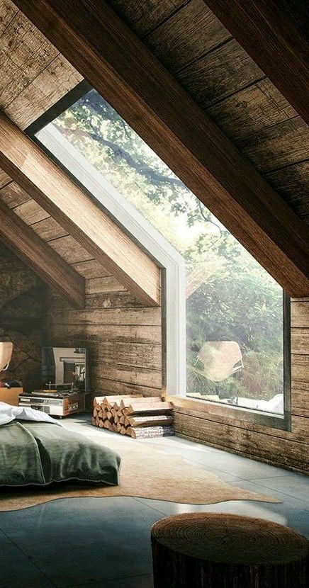 unique window in a vaulted bedroom or attic room