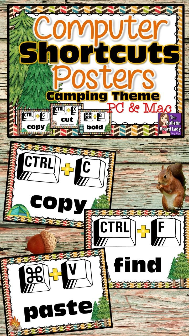 computer lab bulletin board ideas for elementary students. Computer Shortcuts Posters For Lab Camping Theme Bulletin Board Ideas Elementary Students
