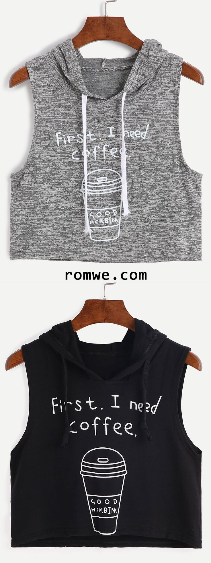 Heather Grey Coffee Cup Print Sleeveless Hooded Top
