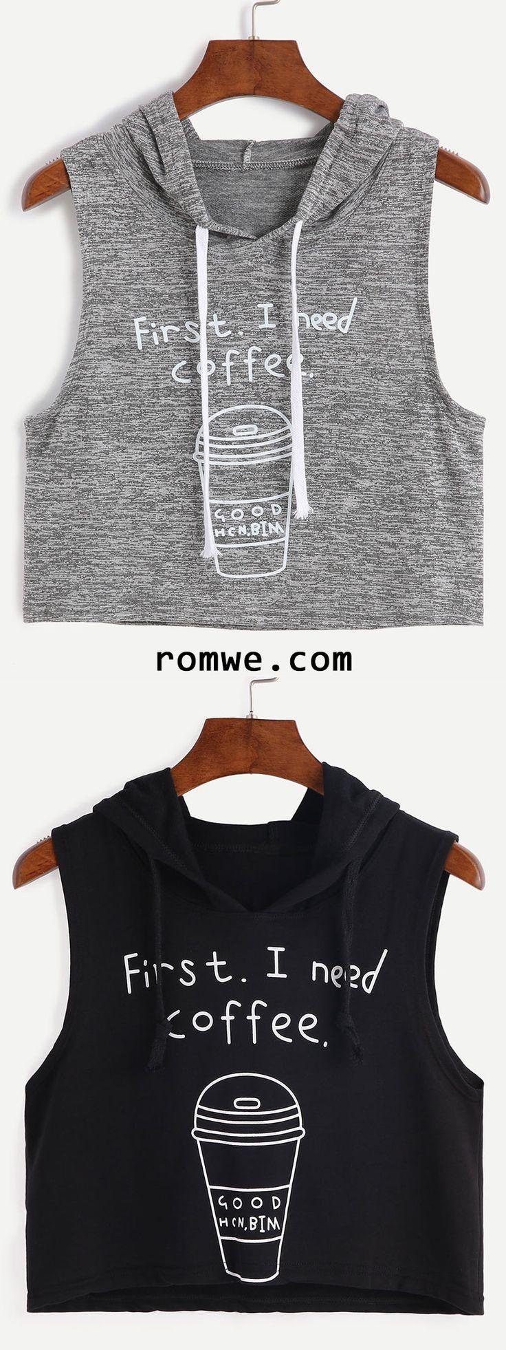 Heather Grey Coffee Cup Print Sleeveless Hooded Top