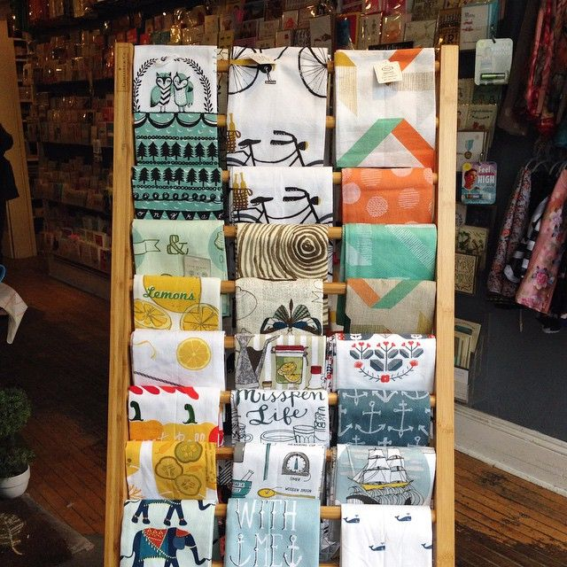 New tea towel display. #teatowel #danica @danica_studio #annex #juxtapose #giftshop #toronto