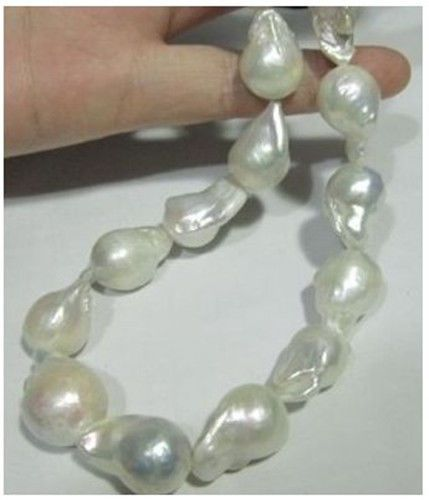 """AAA South Sea White Baroque Pearl Necklace 18"""" 