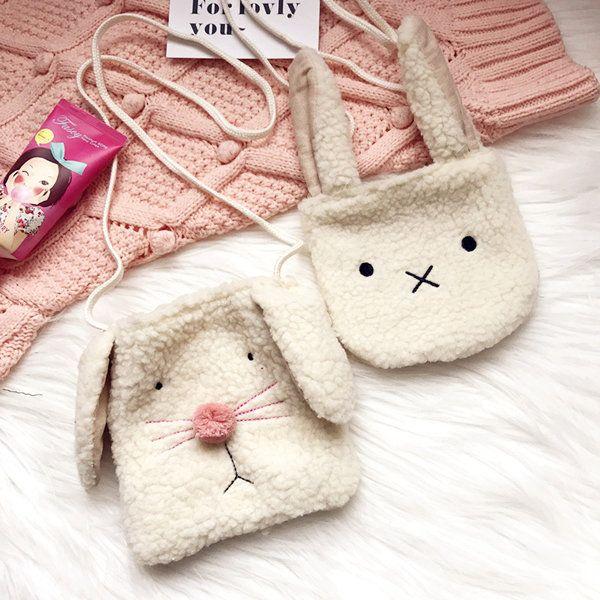 Cartoon Cute Plush Rabbit Dogs Shoulder Bags Crossbody Bags