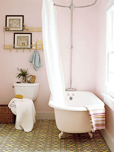 Love this bathroom- pink with beautiful cement tiles....