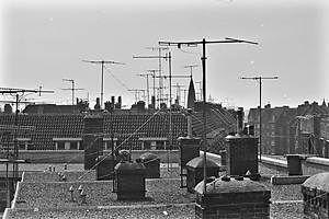 Vroeger stonden de antennes voor de televisie op de daken. Als er 'sneeuw' was in het beeld, ging mijn vader aan de antenne draaien en riepen wij van beneden naar boven of het beeld weer goed was.