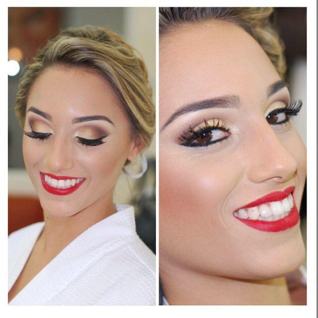 Bridal makeup. I'd go for a darker red lip.