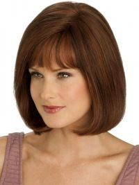 Shining Monofilament Straight Chin Length Full Lace Wigs For Cancer