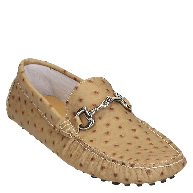 Beige ostrich textured leather driving moccasins for men - Italian Boutique €194