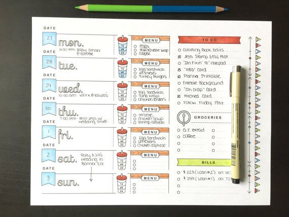 A4, Printable Planner Page, Weekly Calendar Template, Bullet Journal Printable, Adult Coloring, To Do List, Grocery List, Meal Planning