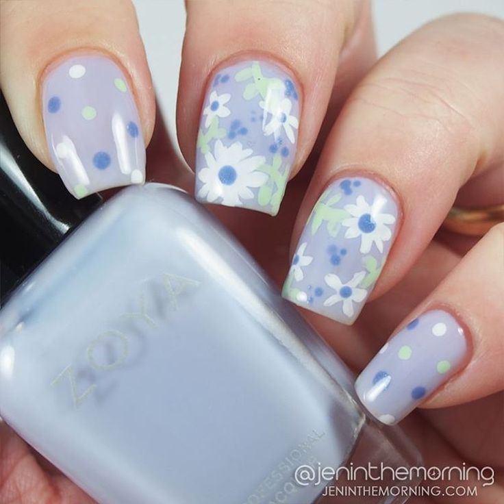 Spring Floral nail art featuring Zoya - Miley, Tiana and Sally Hansen - White On  #nail #nails #mani #manicure #jeninthemorning