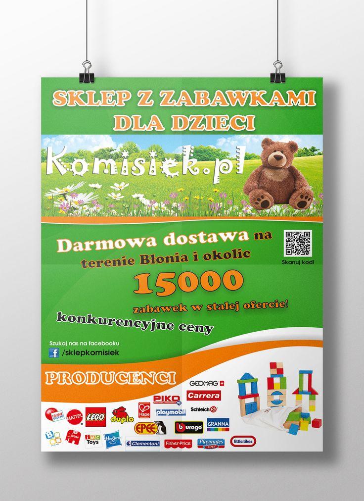 Plakat dla sklepu z zabawkami Komisiek