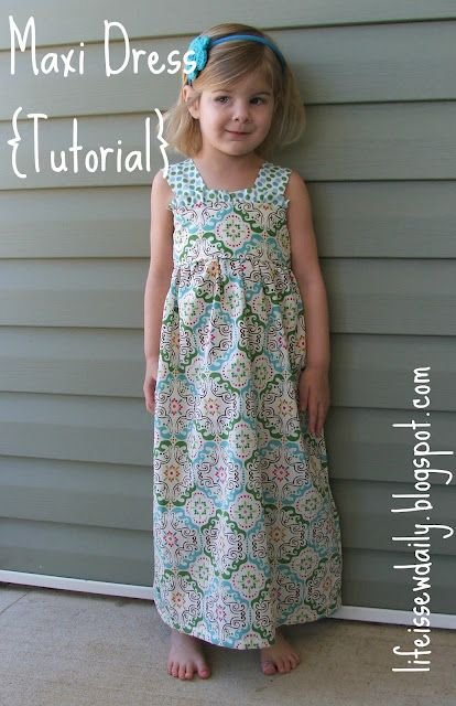 DIY girls maxi dress tutorial through a Blog (blog link has great crafty ideas) use pic for ideas. Belle is very in love with long dresses/skirts/nightgowns etc. This is perfect!