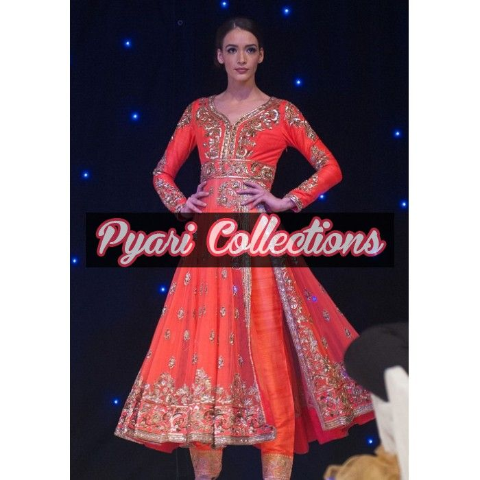 Coral Side Slit Outfit Code: FPL819 http://pyaricollections.com/formal-party-wear/anarkali-dresses/coral-side-slit-outfit.html?limit=100  #Indian #pakistani #fashion #designer #anarkali