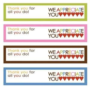 """We Appreciate You"" - free printables for school/teacher/volunteer gifts"