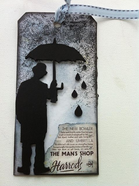 made with the Tim Holtz  Umbrella man die