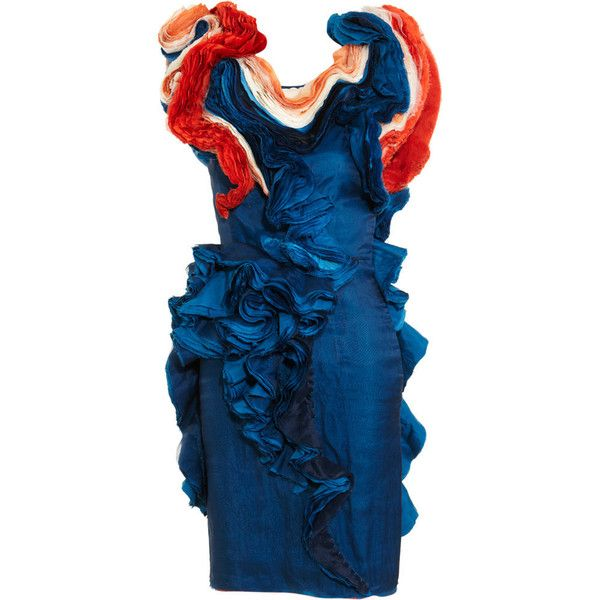 Felicity Brown Cap Sleeve Ruffle Dress ($1,679) ❤ liked on Polyvore featuring dresses, blue, women, cap sleeve cocktail dress, frilly dresses, flouncy dress, layered ruffle dress and blue cocktail dresses